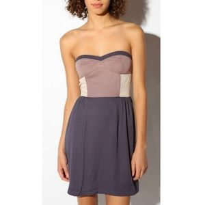 urban outfitters strapless colorblock purple dress